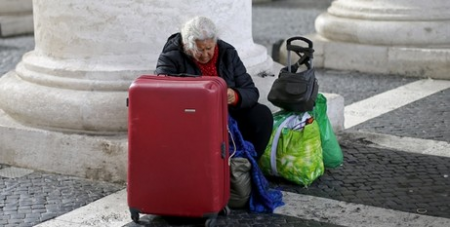 Homeless woman in Rome