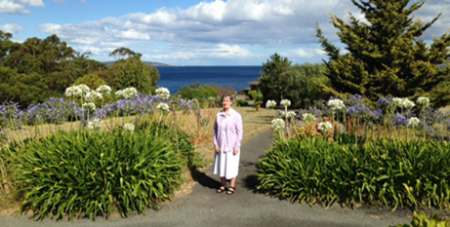 Sr Gabrielle Morgan PBVM on the Blackmans Bay site that will be used for affordable housing (Presentation Sisters)