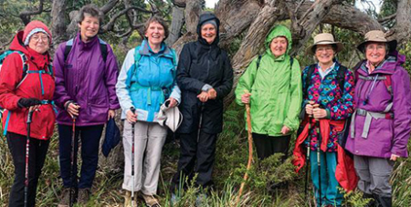 Pilgrim walkers on the Missionary Sisters of Service 75th anniversary Bruny Island pilgrimage (MSS/Fiona Basile)