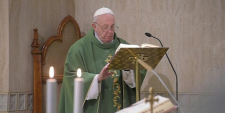 Pope Francis celebrates Mass in the chapel of the Domus Sanctae Marthae at the Vatican yesterday (Vatican Media)