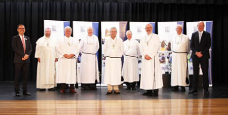 Marist Brothers say farewell to Red Bend College, flanked by principal Stephen Dwyer and Marist Schools national director Frank Molloy (The Catholic Weekly)