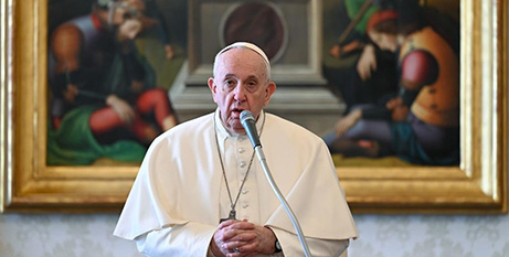 Pope Francis delivers his general audience address yesterday (Vatican News)