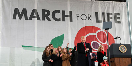 US President Donald Trump addresses thousands of pro-life supporters at the March for Life in Washington DC (CNS/Leah Millis, Reuters)
