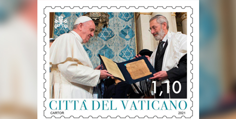A Vatican stamp commemorates Pope Francis' meeting with Rabbi Riccardo Di Segni, chief rabbi of Rome, at the main synagogue in Rome in 2016 (CNS/Vatican stamp and coin office)