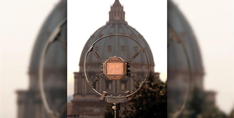 The microphone used by Pope Pius XI in 1931 to inaugurate Vatican Radio (Vatican Media)