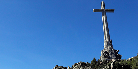 A large cross above the mausoleum where the tomb of former Spanish dictator General Francisco Franco was located in the Valley of the Fallen near Madrid before it was exhumed in 2019 (CNS/Emilio Naranjo, pool via Reuters)