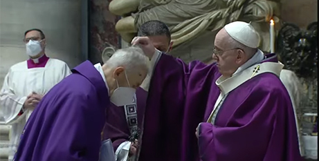 Pope Francis sprinkles ashes on the head of a cardinal during Ash Wednesday Mass at the Vatican yesterday (Vatican News)