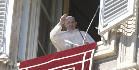 Pope Francis waves to pilgrims gathered in St Peter's Square yesterday (Vatican Media)
