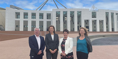 Toby oConnor, Michele O'Neil, Ursula Stephens and Kasy Chambers at Parliament House (Supplied)
