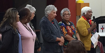 a member of the Baabayn Aboriginal Corporation speaks at the National Apology to the Stolen Generations event at Emerton parish in western Sydney (Parramatta Diocese)