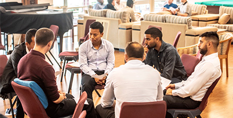 A small group session at the formation week at Good Shepherd Seminary, Sydney (The Catholic Weekly/Giovanni Portelli)