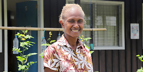 Margret at the San Isidro Care Centre in the Solomon Islands (Caritas Australia/Neil Nuia)