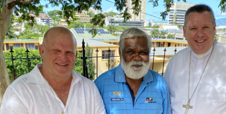 Bishop Tim Harris, right, with One Community members Jeff Adams, left, and Uncle Russell Butler, centre. (Diocese of Townsville)