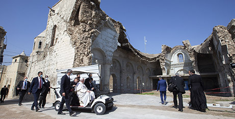 Pope Francis visits the destroyed Al-Tahera Syriac Catholic Church in Mosul on March 7 (CNS/Paul Haring)