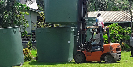 Alotau Diocese is delivering water tanks to vulnerable communities in Papua New Guinea as part of the COVID-19 response (Alotau DIocese)