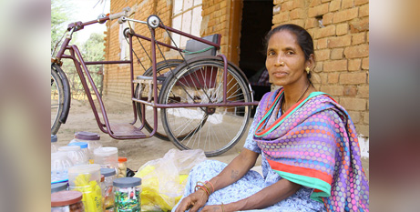 Sakun now has a new livelihood with access to mobility aids and training in micro business management (Caritas Australia)