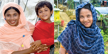 Jamila, with her son, and Halima will both be affected by the long-term effects of the fires (Caritas Bangladesh)
