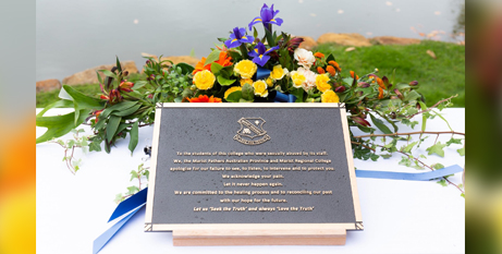 This plaque, blessed by Archbishop Julian Porteous, will be installed at Marist Regional College in coming weeks (Hobart Archdiocese)