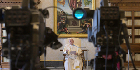 Pope Francis  during his weekly general audience yesterday (Vatican News/ANSA)