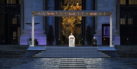 Pope Francis leads a prayer service in an empty St Peter's Square at the Vatican on March 27, 2020 (CNS/Vatican Media)