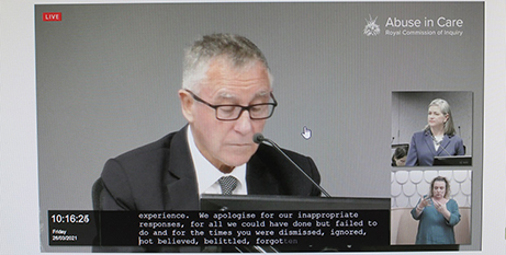 Cardinal John Dew delivers the apology at the royal commission hearing on Friday (NZ Catholic)
