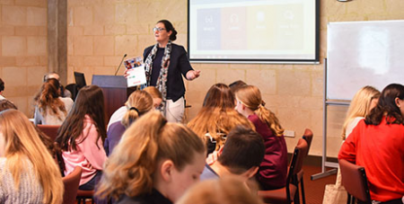 Lana Turvey-Collins addresses high school students in Western Australia during the Plenary Council's Listening and Dialogue phase (Catholic Education Western Australia)