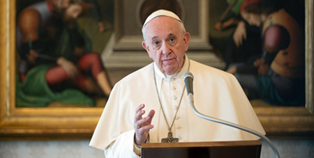 Pope Francis during the Angelus address yesterday (Vatican News/ANSA)