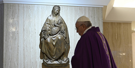 Pope Francis celebrates Mass in the chapel of his Vatican residence, Domus Sanctae Marthae, yesterday (CNS/Vatican Media)