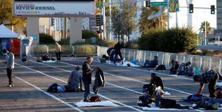 Pope Francis referred to this photo of homeless people getting settled in a temporary parking lot shelter in Las Vegas (CNS/Steve Marcus, Reuters)