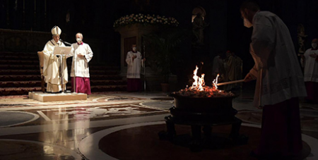 Pope Francis celebrates the Easter Vigil in St Peter's Basilica at the Vatican (CNS/Vatican Media)