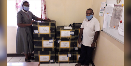 The Diocese of Lae in Papua New Guinea receives boxes of personal protective equipment (Caritas Australia)