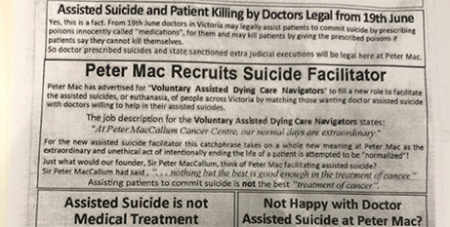The flyer handed out to staff and patients outside the Peter MacCallum Cancer Centre in Melbourne (ABC News)