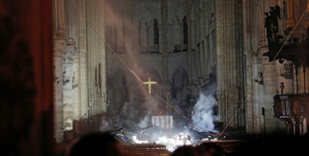 Smoke rises around the altar inside Notre Dame Cathedral in Paris after the April 2019 fire (CNS/Philippe Wojazer, Reuters)