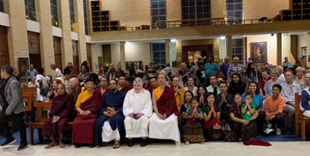 Bishop James Foley (centre) with faith leaders at the interfaith event at St Monica's Cathedral, Cairns, on Monday (Facebook/Khacho Yulo Ling Buddhist Centre)