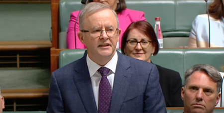 Anthony Albanese delivers his Budget reply yesterday (ABC News)