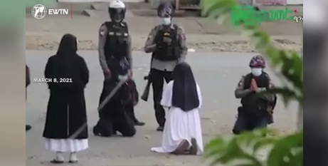 Sr Ann Rose Nu Tawng begs police not to shoot protesters during Myanmar unrest (EWTN)
