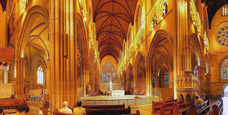 Four public Masses will be celebrated at St Mary's Cathedral in Sydney today for the first time since March 23 (Wikipedia/Adam JWC)