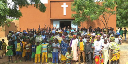 Parishioners outside a church in Burkina Faso (Vatican Media)
