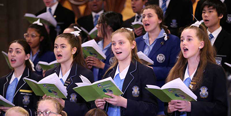 Students singing in St Patrick's Cathedral, Melbourne (NCEC)