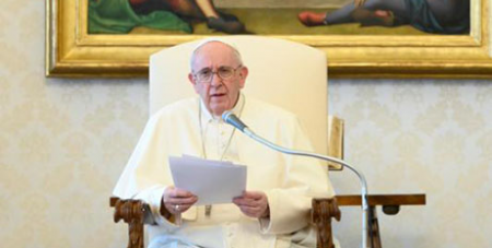 Pope Francis leads his general audience in the library of the Apostolic Palace (CNS/Vatican Media)