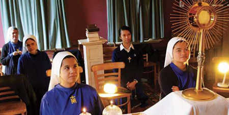 The Sisters of the Immaculata pray before the Blessed Sacrament in Hobart last year (Hobart Archdiocese)