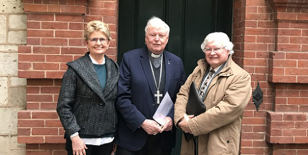 Pauline Connelly, Bishop Greg O'Kelly SJ and Greg Crafter (The Southern Cross)