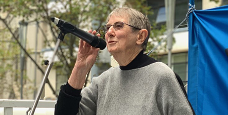 Sr Brigid Arthur CSB at a refugee rally in Melbourne in March (Melbourne Catholic/Fiona Basile)