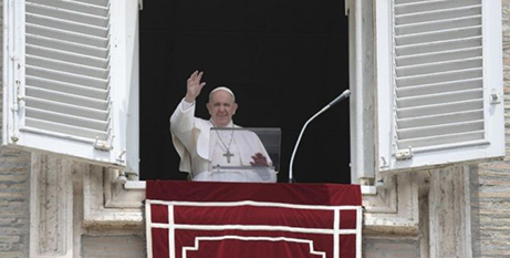 Pope Francis delivers the Angelus address yesterday (CNA/Vatican Media)