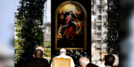 Pope Francis leads an evening Marian prayer service in the Vatican Gardens yesterday (CNS/Filippo Monteforte, Reuters pool)