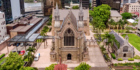 An aerial shot of St Stephen/s Cathedral and chapel in Brisbane (The Catholic Leader)