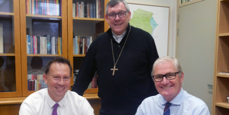 Michael Austin, Director of CatholicCare, Bishop Brian Mascord, Bishop of Wollongong and Peter Turner, Director of Schools at the MOU signing (CatholicCareDOW)