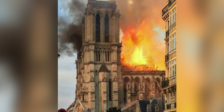 Fire at Notre Dame Cathedral on April 15 (Wikimedia/LeLaisserPasserA38)