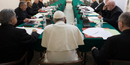 Pope Francis with the Council of Cardinals (CNS)