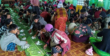 People displaced by fighting in northwestern Myanmar at a shelter in Chin state (CNS/Reuters)
